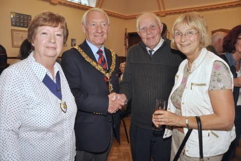 Burnham Mayor and Mayoress Ken and Janet Smout, with twinning society chairman Chris Metcalfe and interpreter Gabriele Ulrich. PHOTO: Mike Lang