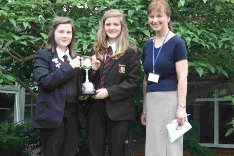 Jade Hooper, Olivia Shorthouse and head teacher Karen Canham