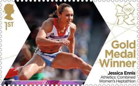 Golden girl Jessica Ennis' Heptathlon triumph is celebrated with a Gold Medal stamp from Royal Mail.