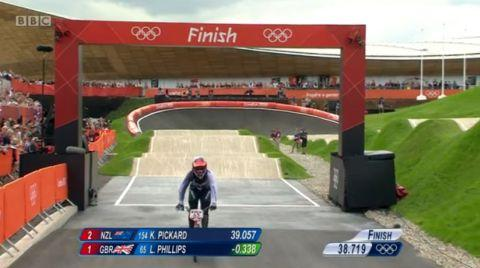 Liam Phillips crosses the line. PHOTO: BBC