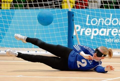 Making a block – Anna Sharkey in action during the Paralympic test event at the Olympic Park in December