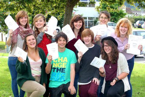 West Somerset Community College pupils pick up their GCSE results on August 23, 2012