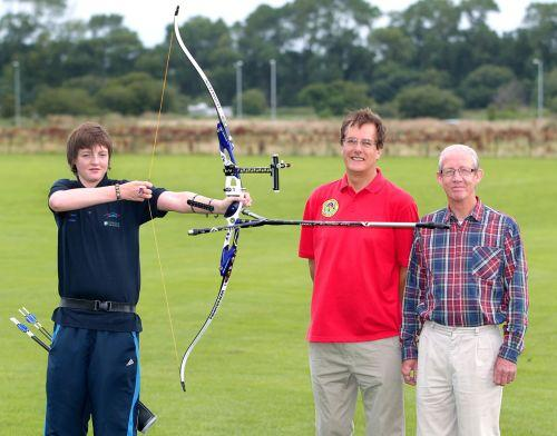 Jaibez Macriner with the secretary and lead coach of West Somerset Company of Archers, Jim Wiles, and supportive grandfather Ron Newbold. PHOTO: Steve Guscott