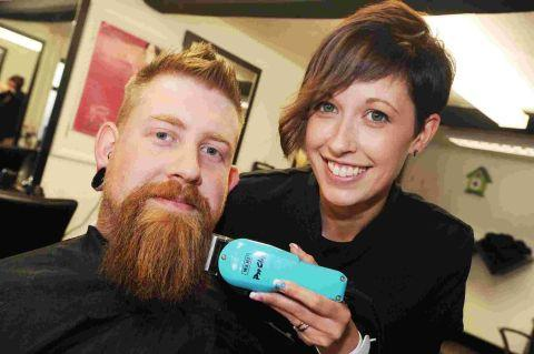 ANDY Teague with Michelle Young of Razooks Hairdressing Salon in Holyrood Street, Chard. PHOTO: Steve Richardson.