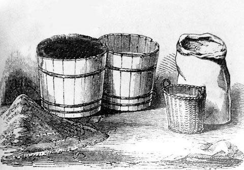 Buckets and sacks were used as measures