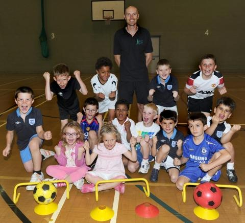 James Quirk with youngsters at Blackbrook Pavilion