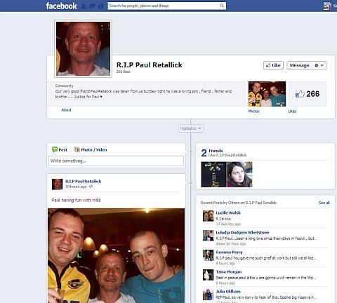 Tributes facebook page for Paul Retallick