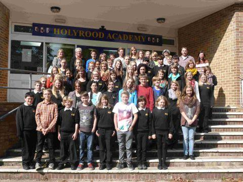 HOLYROOD students gather with their friends from Helmstedt on Friday. PHOTO: Jamie Brooks