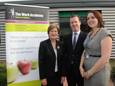 Principal Rachel Davies, Castle Hotel general manager Marc Mac Closkey and Sarah Smith, from the Work Academy