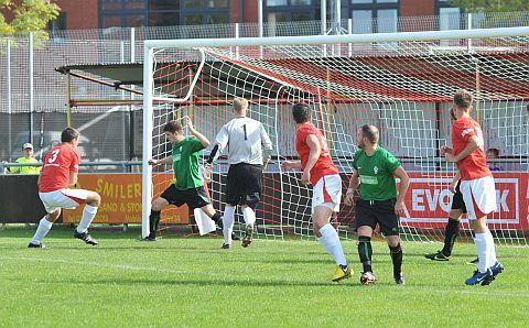 Luke Turner opens the scoring for Bridgwater Town. PHOTO: Jeff Searle