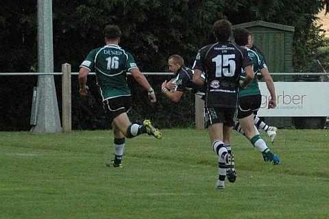 Damian Griffin flies over for a North Petherton try. PHOTO: Chris Hancock