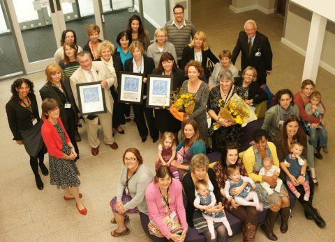 A group shot of everyone at the event, including the three award winning organisations.
