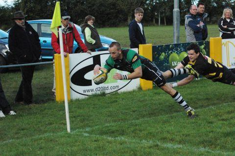 Damien Griffin flies over the line for a try against Thornbury. PHOTO: Chris Hancock