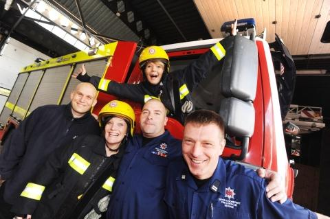 Cllr Kelly Durdan (rear) with (from left) Austin Norton of Blue Watch, Caroline Kelly, Gareth Derbyshire and Lee Foreman