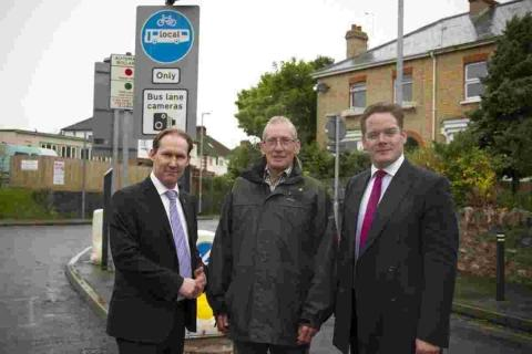 Councillors John Osman, Rod Porter and Ian Morrell at the Mountway Road bus gate