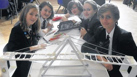 Students with their lightweight bridge during STEM day