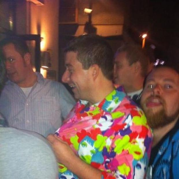 Dave Atkinson wearing the shirt in Truro's JD Wetherspoon pub on October 13.