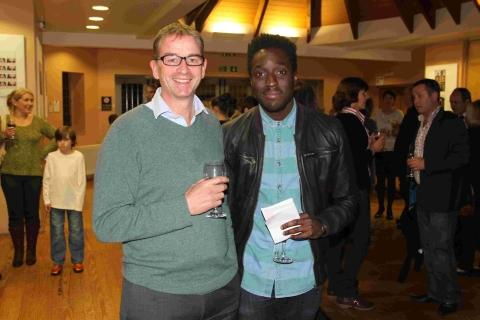 Andy Akinwolere with head teacher Jimmy Beale