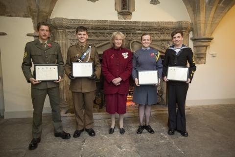 The four cadets who were chosen as the Lord-Lieutenant's Cadets with Lady Gass JP, the Queen's representative in the county. Far right: Petty Officer Michael Goodwin, 17, of Bridgwater. Photo: submitted.