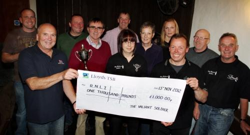FROM left, back, Neil Gregory, Steve Eggar, Paul  Richards, Alison Williams, Emma Tennant and Bryn  Corfield; front, Derek Williams and Valiant Soldier landlord Mike Twine with Sarah  Tyson, Andy Swallow and Steve Cornish. PHOTO: Ian Beech