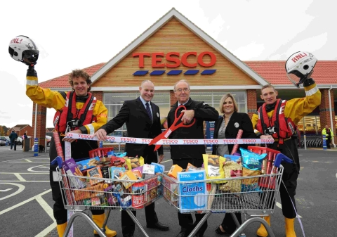 Ashley Chappell, RNLI, Ian Carvell, manager, Graham Wills, chairman of Burnham RNLI, Jo Lewis, Tesco refit manager, and Nick Edrich, RNLI.
