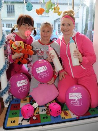 Jeanie Knight, Annette Vickery and Hayley Tidball dressed as babies to raise funds for children's cancer charity CLIC Sargent