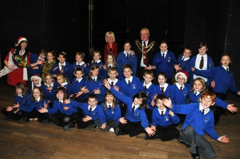 Children from St John and St Frances school at the concert in Bridgwater Town Hall with Mayor Graham Granter and Mayoress Kay Granter.