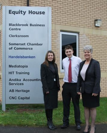 Carys Evans, business development advisor at Richard Huish Business School, apprentice Chris Smith and Penny Farrar, director of Andika Accountancy Services.
