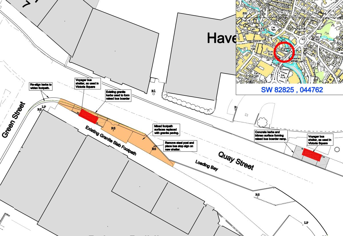 This is The West Country: Proposed bus stops for Quay Street, Truro.