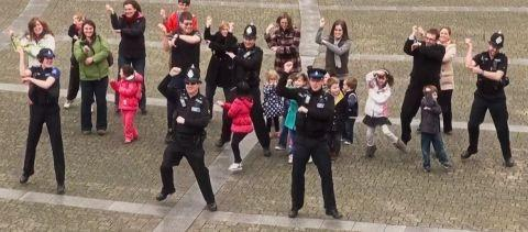 The 'Gangnam' police officers in action in Events Square.