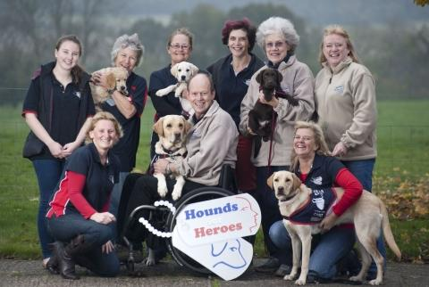 Gulf War Veteran, Allen Parton, with others involved in the Hounds for Heroes charity. Photo: Hounds for Heroes