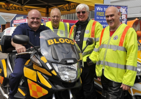 (From left to right) Managing Director of Autofit Motoring Centres, Paul Rogers with Freewheelers EVS volunteers Allan Roberts, Dave Hobbs and Richard Reeves.