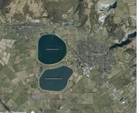 This map shows the existing reservoir (north) and the proposed reservoir (south)