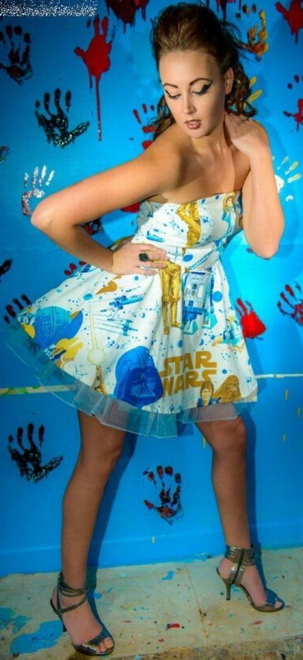 Katie Mcloughlin models the Star Wars dress from Silly Old Sea Dog. Credit: Kevin Hicks