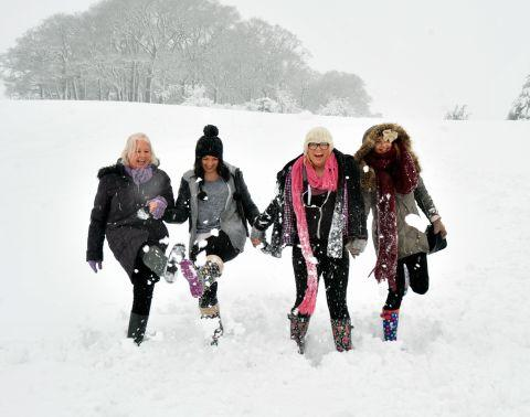 Fun in the snow at Nether Stowey. January 23, 2013.