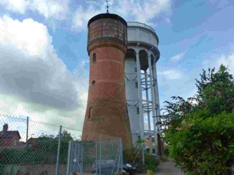 The grade II listed Rockwell Green water towers, which are a land