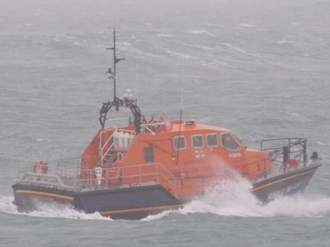 The Lizard lifeboat Rose launching yesterday afternoon. Picture: Dylan Atkinson