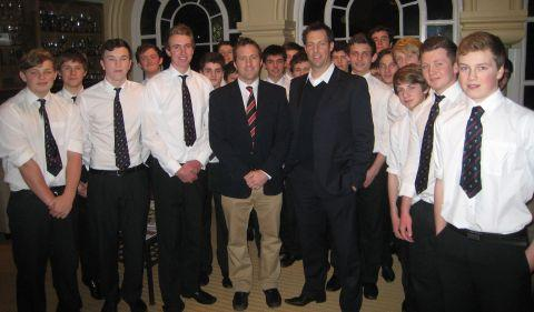 Marcus Trescothick with Phil Lewis and players.