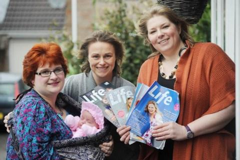 Members Erica Bond, left, with baby Tabitha, Libby Heaton-Jones and chair Karen Janas.