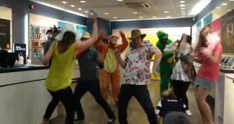 Staff in EE doing the Harlem Shake.