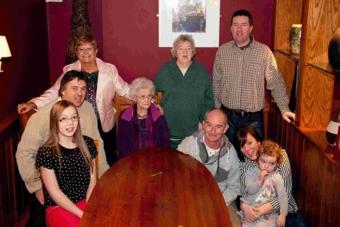 Jacqueline's children, grandchildren, great grandchildren and great great grandchildren gather to celebrate her 100th birthday