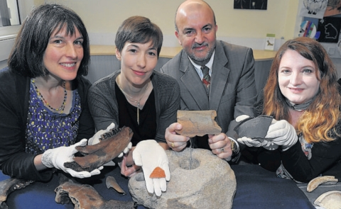 Rachel Bellamy, of the Museum of Somerset, Rebecca Calder, of EDF Energy, county councillor David Hall and Jane Hill, of the museum, with some of the finds.