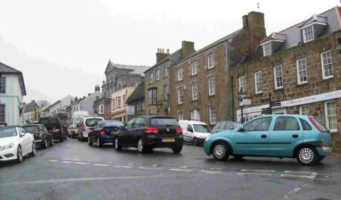 Some of the traffic queuing up at the bottom of Coinagehall Street as it attempts to get through the town.