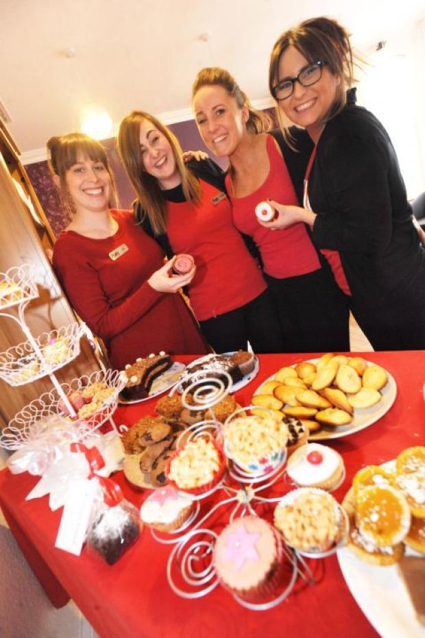 The girls at Pure Beauty in Chard held a cake sale for Comic Relief