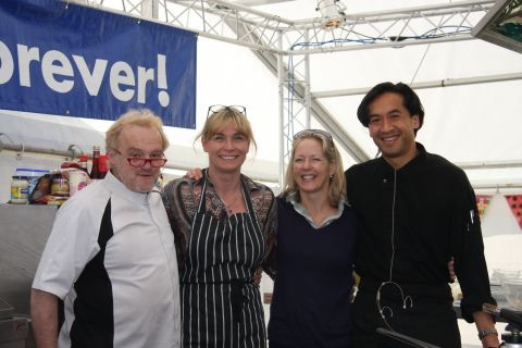 Festival patron Antony Worrall Thompson and his wife Joy with Jude and Jane Kereama of Kota Kai