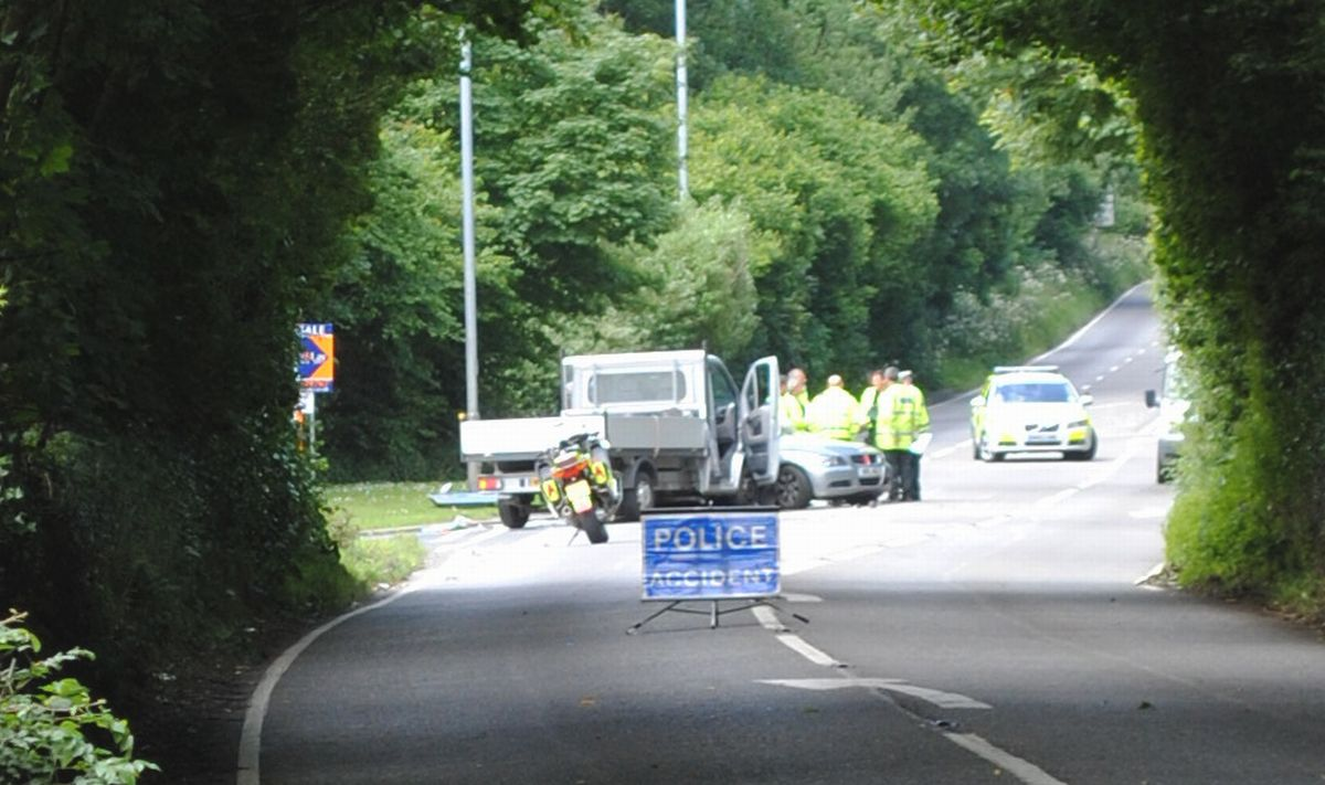 Emergency services at the scene of the crash on the B3292 in Penryn