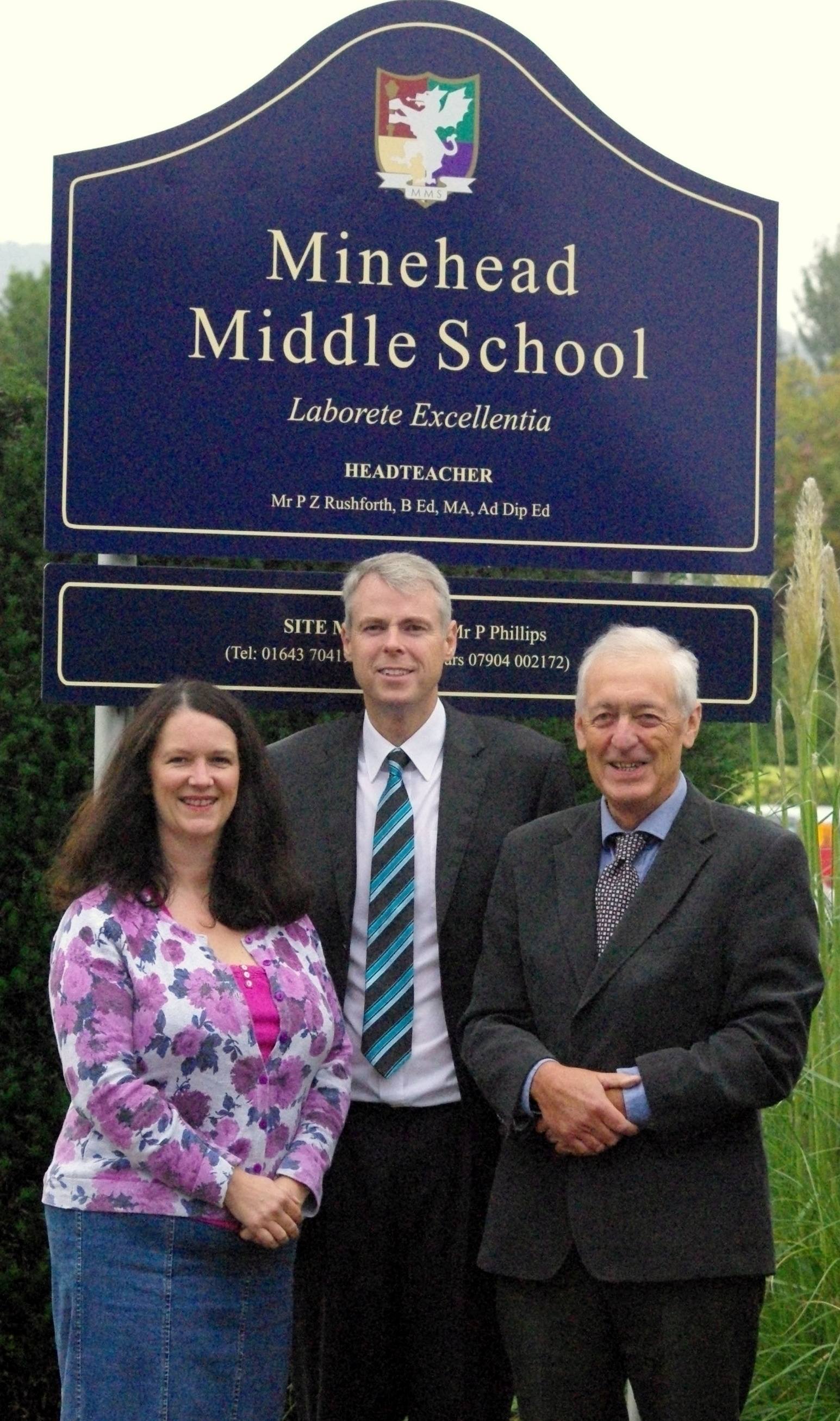 MARTINA Forster, chariman of the governors, head teacher Paul Rushforth and Geoff Lloyd, former chairman. PHOTO: Submitted.