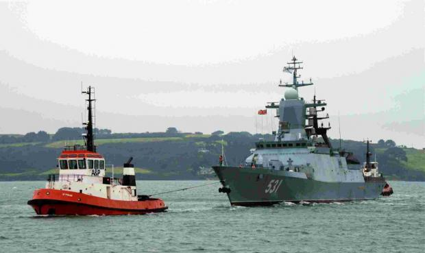 This is The West Country: The Russian corvette Soobrazitelny is towed into Falmouth