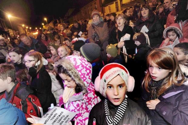 Families line the streets for last year's switch-on.