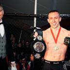 This is The West Country: Richard Buskin after winning the lightweight UFW champion belt